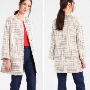 Banana Republic Collarless Tweed Jacket Ivory XL